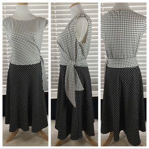 Tahari Black & White Check Side Tie Dress 14